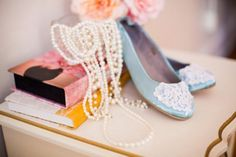 Weddbook is a content discovery engine mostly specialized on wedding concept. You can collect images, videos or articles you discovered  organize them, add your own ideas to your collections and share with other people | Weddbook ♥ This is a wedding allet flat bridal shoes embellished with white organza lace, crystal sequins and pearls. This shoes color is sky blue which looks simple and nice and comfortable in bride legs while she wear it on her wedding day.  #wedding, #lace, #shoes…