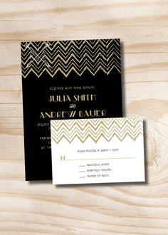Art Deco Wedding Invitation - Rustic Chevron Invitation and Response Card