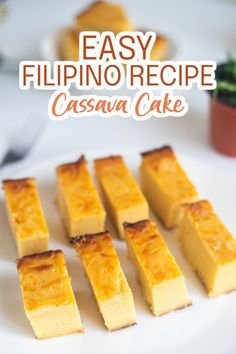 Cassava Cake is a very popular Filipino dessert made from yucca or tapioca plant, butter, cheese, coconut and condensed milk. When you take a bite of this creamy, soft, and cheesy dessert, you know you are eating one of the best desserts from the Philippines!