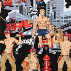 black Pin up fire fighters fabric by Alexander Henry Ready For Action Images Pop Art, Male Pinup, Black Pin Up, Alexander Henry Fabrics, Male Eyes, Gay Art, Cotton Quilts, Cotton Fabric, Black Fabric
