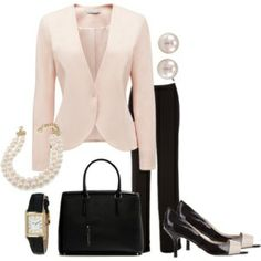 Light pink jacket, black pants