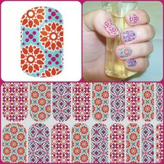 "Jamberry Nail Wraps - Blooming Splendor, a ""There's More Wrap"" that features 3 different designs of this fun spring floral all on one sheet!  www.jorear.jamberrynails.net"