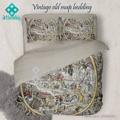 North and south america vintage map bedding america old map duvet celestial hemisphere atlas bedding set vintage old celestial map duvet cover set antique map gumiabroncs Choice Image