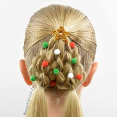 Yay - it's another fun Christmas Tree hairstyle!  No major hair skills required! ;-) video tutorial on our blog. Link in profile  #babesinhairland #babesinhairlandblog #christmas #christmastree #hair #hairstyle #hairofinstagram #braids #ponytail #christmashair