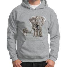 Swirly Elephants Gildan Hoodie (on man)