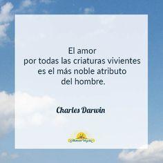 El amor por todas las criaturas vivientes es el más noble atributo del hombre. Charles Darwin