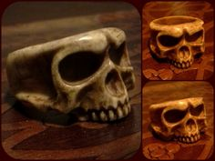 Hand carved Skull Ring - Bone
