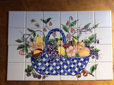 Tile mural Basket of fruit and vegetables this mural looks great over the kitchen range. Hand painted and high fired and is completely washable. Painting Ceramic Tiles, Painted Tiles, Garden Basket, Border Tiles, Italian Tiles, Tile Murals, Hand Painted Ceramics, Beautiful Kitchens, Kitchen Backsplash