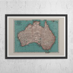AUSTRALIA MAP PRINT - Vintage Map of Australia - Old Map Print, Vintage Wall Art, Antique Map, Historical Wall Art