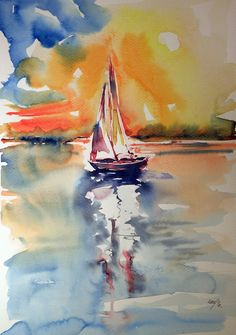 ARTFINDER: Sailboat by Kovács Anna Brigitta - Original watercolour painting on high quality watercolour paper. I love landscapes, still life, nature and wildlife, lights and shadows, colorful sight. Watercolor Sea, Watercolor Art Paintings, Watercolor Landscape, Landscape Paintings, Sailboat Art, Sailboat Painting, Sailboats, Seafarer, Sailing