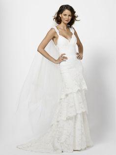 Lace Tiered Sleeveless V-neck A-line Wedding Dress