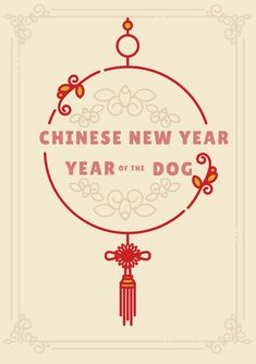 A Chinese New Year Greeting Card Template Red And Yellow Text On