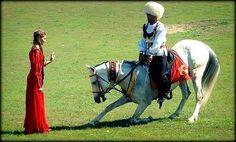 Turkmen woman and horseman