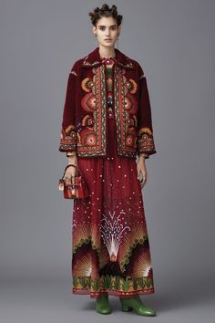 Valentino Pre-Fall 2016 Collection - volcano print maxi skirt and embroidered short coat.