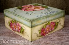 Box painted with easy country painting~Κουτί ζωγραφισμένο με easy country painting