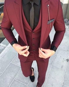 Custom Made Groom Wedding Tuxedos Groomsmen Burgundy Slim Suits Fit Best Man Suit Men's Suits Bridegroom Groom Wear (Jacket+Vest+Pants) 14 suits men Men's Suits, Dress Suits, Cool Suits, Men Dress, Cool Prom Suits, Men In Dresses, Fitted Suits, Formal Dresses For Men, Formal Outfits