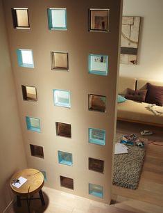 División Glass Blocks Wall, Glass Block Windows, Block Wall, Home Decor Bedroom, Room Decor, Interior Walls, Interior Design, House Design, Case