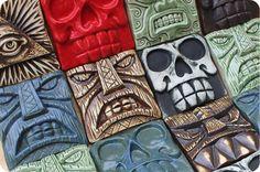 Hand-pressed tiles at VanTiki.com