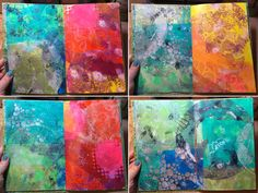 """StencilGirl Blog - fun little mini art journal that you can make with your stencils and the new Gelli Arts® Printing Plates- it works especially well with the new 4"""" and 6"""" round plates! - See more at: http://www.stencilgirltalk.com/2015/04/make-gelli-printed-mini-art-journal.html#sthash.z8W5z4jQ.dpuf"""