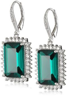 """CZ by Kenneth Jay Lane """"Traditional"""" 20 cttw Emerald Color with Pave Frame Leverback Earrings CZ by Kenneth Jay Lane,http://www.amazon.com/dp/B007F3SEBW/ref=cm_sw_r_pi_dp_exydsb0JR38Y1GA4"""