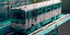 Modélisation 3D d'un wagon de métro en tickets de métro