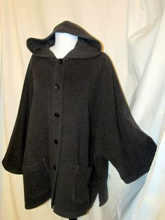 Sz 1X Eileen Fisher Gray Boiled Wool Hoodie Coat Batwing Sleeves Button Front SOLD