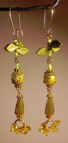 View Item: Long Dangle Earrings - Blue & Gold Stars & Flowers Featuring Lampwork Beads