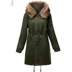 Hooded Drawstring Flap Pocket Padded Coat (1.004.360 IDR) ❤ liked on Polyvore featuring outerwear, coats, drawstring coat, long coat, padded hooded coat, long green coat and long hooded coat