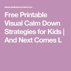 Free Printable Visual Calm Down Strategies for Kids   And Next Comes L