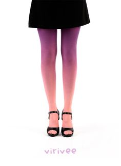 Ombre tights salmon  purple by virivee on Etsy, $38.00