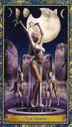 XVIII. The Moon - Wizards Tarot authored by John Blumen, Corrine Kenner #tarotcardsmeaning #tarotcards&inspiration