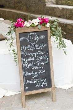 A perfectly sweet hand lettered menu board #Cedarwoodweddings Glam-Gold Garden Wedding :: Lindsay+Wade | Cedarwood Weddings