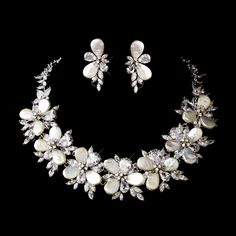 Pearl Bridal Jewelry Set- Silver CZ and Pearl Bridal Jewelry Set StressAwayBridalShop.com $399.99 #pearljewelry #shop #jewelry #weddings