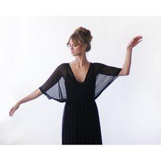 Black maxi dress, Black Chiffon dress, Bat sleeves dress