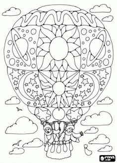 Hot air balloon decorated flying with two passengers  coloring page.   Great opportunity for a terrific card!  :o)