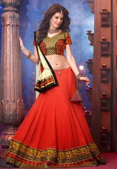 Desginer Lehenga!Orange #Georgette flared lehenga designed with Embroidery,Patch Work. As shown in the photo choli is available. dupatta comes along with this.    With exciting Flat 30% discount! INR :-9850