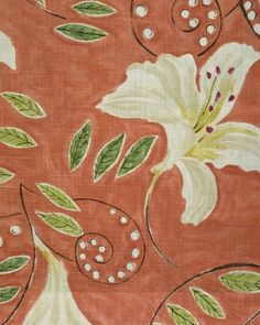 Angelica Fabric A floral lily painterly design curtain fabric, inspired by a Vanessa Bell from the Bloomsbury group, in stone with green leaves, with a red background.