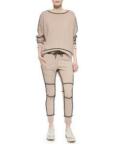 -5HTU Brunello Cucinelli Cashmere Contrast-Piped Sweatshirt & Sweatpants, Peanut