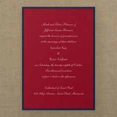 Red, White and Blue Wedding Ideas - Classic Creation - Invitation - Merlot | Occasions In Print, LLC (Invitation Link - http://occasionsinprint.carlsoncraft.com/Wedding/Wedding-Invitations/3149-RRN4136MEMD-Classic-Creation--Invitation--Merlot.pro)