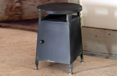 {Industrial Farmhouse} Chippy Black Metal Stool With Storage