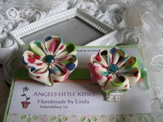 Kanzashi Flower Hair clip Two pieces set by krantwist on Etsy, $9.99