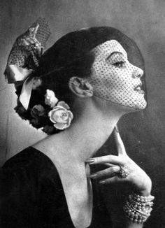 A hat and veil for Vogue US, 1951.