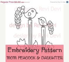ON SALE Mom Peacock and Daughter 15054 - Cute Embroidery Pattern - PDF - Whimsical design for nursery decor