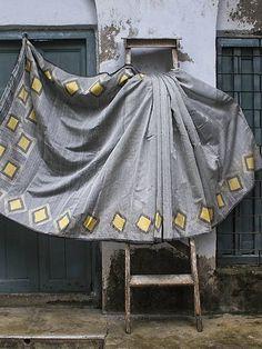 Yellow Diamond Patterned Silver Grey Saree