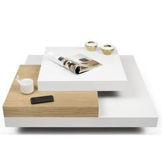 The Tema Furniture Slate Coffee Table is finished in a gorgeous matte white color that helps it stand out in any room of your home. Slate Coffee Table, Modern Square Coffee Table, Centre Table Design, Tea Table Design, Centre Table Living Room, Table Decor Living Room, Solid Wood Furniture, Living Furniture, Central Table