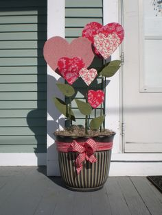 Growing Love for Valentine's Day,  A Pot of Fabric-covered Hearts for indoors or outdoors, Valentine's Day on a Dime!, Holiday Project