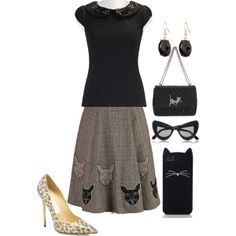 cat embroidery, skirt, sequins, animal print