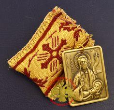 Amulet - Pendant Rectangular with Saint John the Baptist Metal Icon Byzantine Art, Orthodox Christianity, Saint John, Traditional Fabric, John The Baptist, Religious Icons, Amulets, Saints, Coin Purse