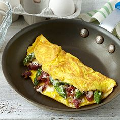 Make Ahead Omelets-Crunched for time in the morning? Make these easy omelets ahead, refrigerate them & then pop them in the microwave in the morning for a quick and healthy breakfast! Create your combo – try bacon, asparagus & Italian cheeses or diced ham, bell peppers, onions & Cheddar