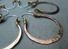 Golden Hoop Earrings Medium Size Mixed Metal by SilviasCreations, $49.00